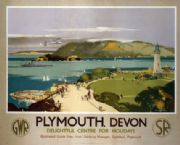 Plymouth, Devon. Vintage GWR and SR Travel poster by Claude Buckle. 1938
